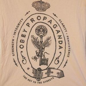 Obey propaganda light orange v-neck shirt